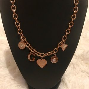 Rose Gold Guess Charm Necklace